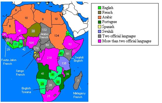 Africa - Languages spoken by country