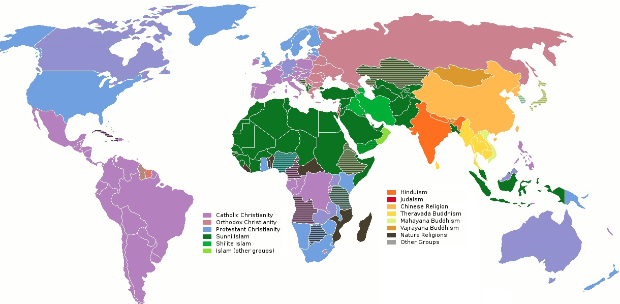 Religion - Christian countries in the world map